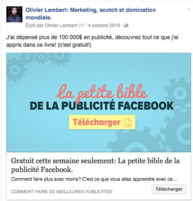 exemple pub facebook olivier lambert