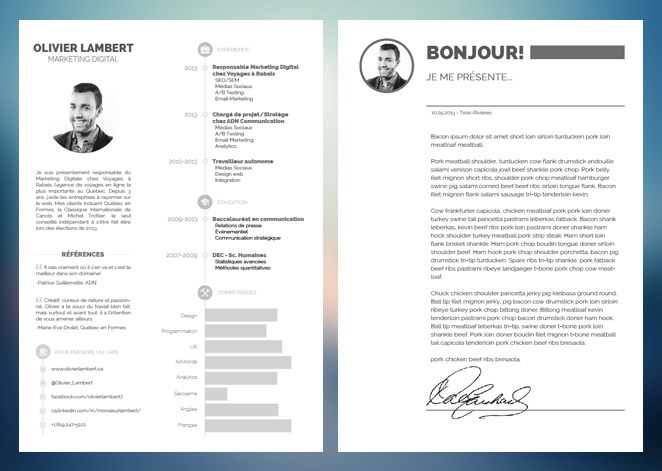 exemple cv en 2 pages