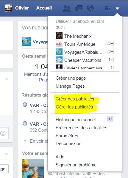 Comment accéder aux gestionnaires de publicités facebook