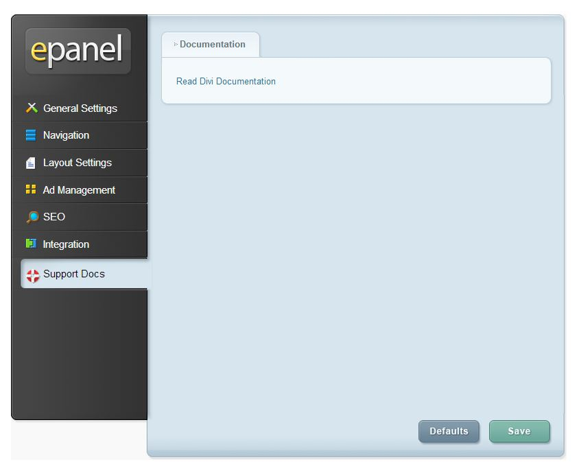 Elegant Themes Control Pannel Documentation.