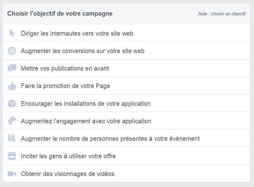 Quels sont les objectifs de campagne Facebook