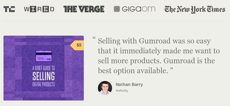 Gumroad social proof example web design.