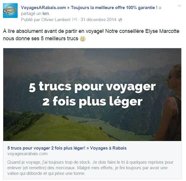 un type de publication facebook populaire