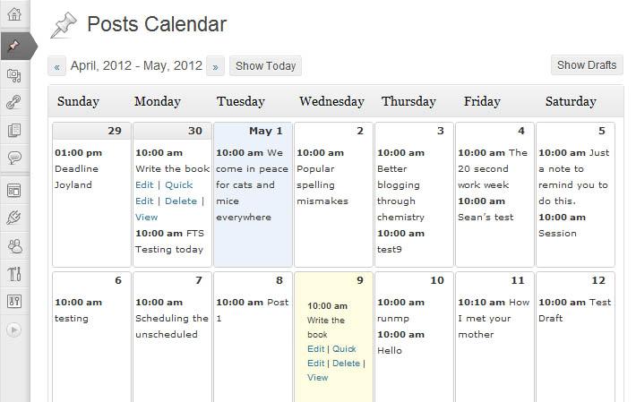 calendrier éditorial wordpress