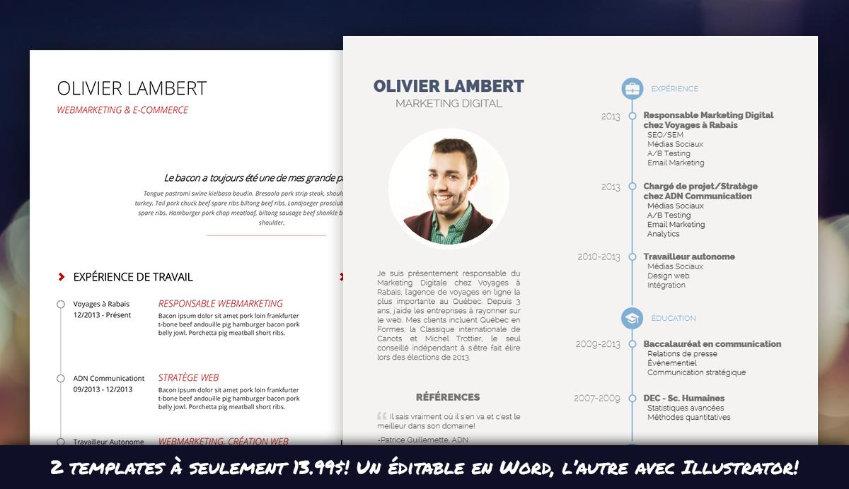 Bundle: 2 templates de CV (Word + Illustrator)